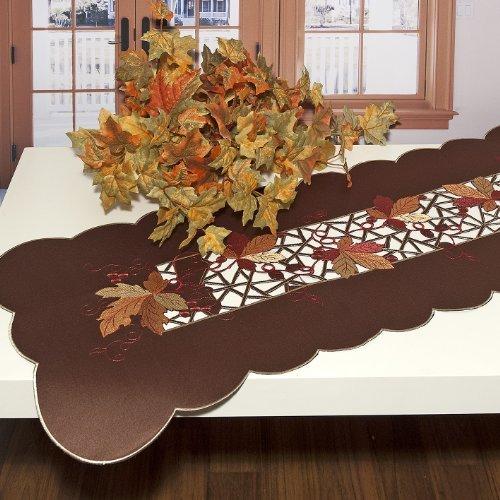 Kamaca - Camino de mesa elegante para el otoño - serie ' vintage' en color marrón con hojas de vid otoñal decorativo - tamaño 40x140 - que significa mantas, manteles ,