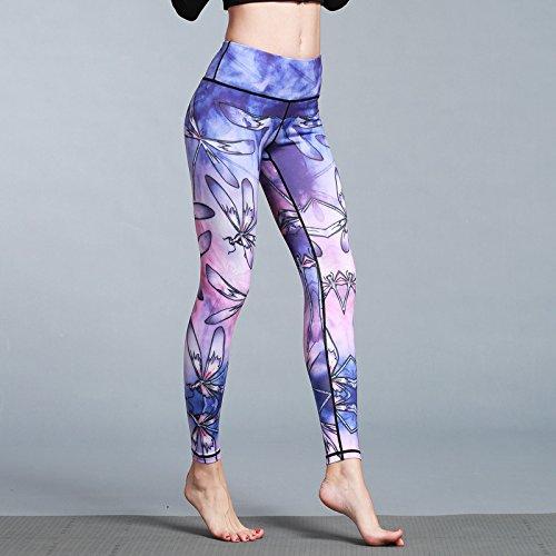 Casadeiy Die athletische Yoga-Hosen-Mode der Frauen druckte Yoga-Trainings-Ausdehnungs-Gamaschen gemusterte Hosen Size M (Dragonfly) -