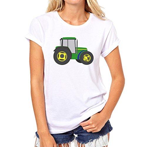 Car Vehicle Four Wheels Auto Tractor Green Damen T-Shirt Weiß