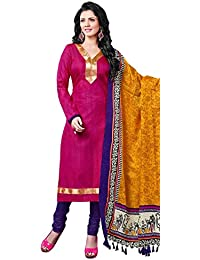 Suprising Pink Bhagalpuri Silk Straight Suit With Dupatta.