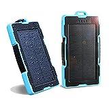 NEXGADGET Cargador Portátil Solar 13000mAh Batería Externa con 2 USB Puertos Entrada de iPhone Android Incluido Lightning Puerto y Salida 5V/2A Max para Smartphone iPhone, Samsung, iPad, Tableta, etc. ( Azul )