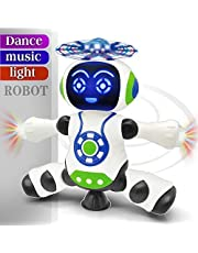 FunBlast Dancing Robot with Music, 3D Flashing Lights, Dancing Naughty Robot for Kids, Battery Operated,360 Degree Rotation Light (Multicolor)