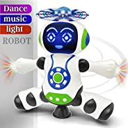 FunBlast Dancing Robot with Music, 3D Flashing Lights, Dancing Naughty Robot for Kids, Battery Operated,360 Degree Rotation L
