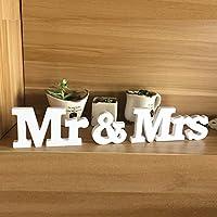 EQLEF® 1 Set Mr & Mrs Letters legno per la decorazione di nozze segno superiore tavola presenti Decor - 1 Segno In Bianco