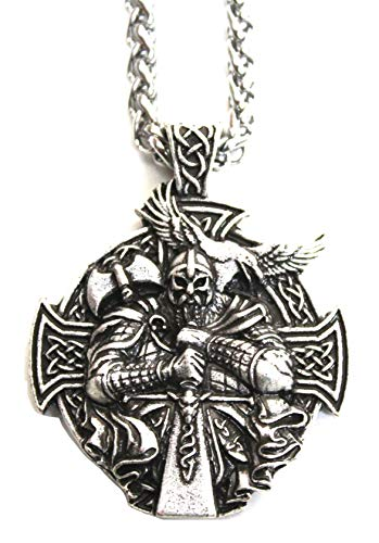 Colgante Collar Hombre Viking Berserk–Cadena Bijou Totem del Coraje, de la Fuerza y de la protección–símbolo Cruz Tribal Rune Norte Celta Caza–Regalo Original Hombre (Plateado)