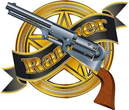 Golden Ranger Badge with Revolver Gun Cartoon Icon Truck Car Bumper Sticker Vinyl Decal 5