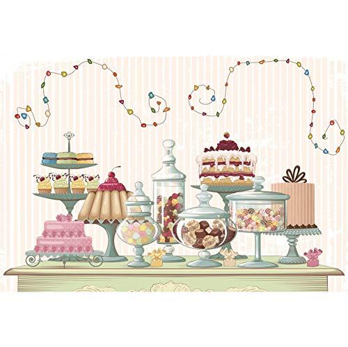Drei Licht-wand-streifen (Cassisy 3x2m Vinyl Geburtstag Fotohintergrund Tischset Kuchen Cupcake Dessert Kleines Licht Streifen Wand Fotoleinwand Hintergrund für Fotostudio Requisiten Party Kinder Photo Booth)