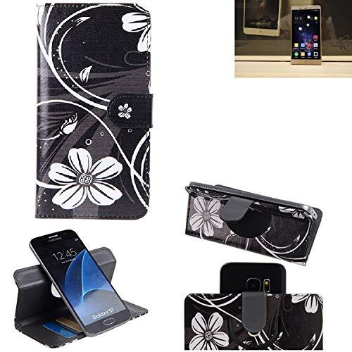K-S-Trade Schutzhülle Nubia Z11 Max Hülle 360° Wallet Case Schutz Hülle ''Flowers'' Smartphone Flip Cover Flipstyle Tasche Handyhülle schwarz-weiß 1x