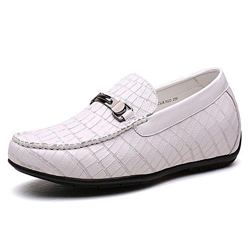 CHAMARIPA Mocassins Pour Homme Cuir Loafers Confort Chaussures DAscenseur de Ville Haut 6 CM/2,36 Pouces - H72C40K102D Blanc