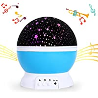 SlowTon Baby Musical Starry Night Light, 2018 New Rechargeable Star Moon Projector Lamp Colorful Led Dreamer Cosmos Rotating Romantic Desk Light with 12 Songs Melodies for Baby Children Bedtime Boy Girl Birthday Gift Present