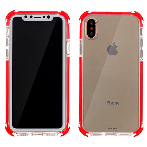 iPhone X Hülle, MOONMINI Ultra Dünn Transparent Soft TPU Silikon Handyhülle Slim Stoßfest Anti-Kratzer Handy Tasche Case Anti-Drop Schutzhülle für iPhone X Rot Rot