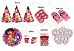 This Super Saver Combo of DISNEY DORA Theme contains : Hats - 10 pcs , Eye Masks - 10 pcs , Invitations - 10 pcs , Happy Birthday Letter Banner - 1 pc, Paper plates Big- 10 pcs , Paper Cups - 10 pcs , Multiolor Polka Dot on Crystal Balloons - 10 pcs