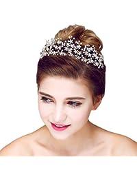 YAZILIND Tocado Belleza Nupcial Diadema Retro Flores Cuentas de Pelo de la Boda  Accesorios Fiesta Mujeres c30537098708