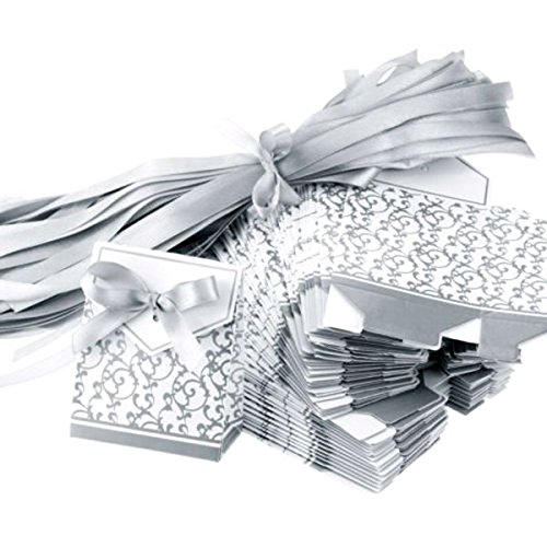 Winomo premio nastro d'argento scatole bomboniera segnaposto regalo caramella favore del regalo di scatole - 100 pezzi