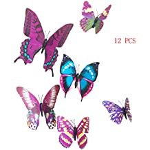 12 PC coloridas artesanías 3D mariposa estilo decorativo Wallpaper pared pegatinas arte decoraciones casa habitación decoración bricolaje púrpura
