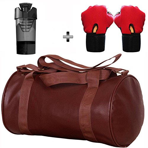 5 O' CLOCK SPORTS Gym Bag Combo Set Enclosed With Soft Leather Gym Bag For Men and Women For Fitness - Bag Size 49cm x 24cm x 24cm - Brown Color, Cyclone Shaker - Black Color and Leather Gym Gloves With Wrist Support- Red Color ®