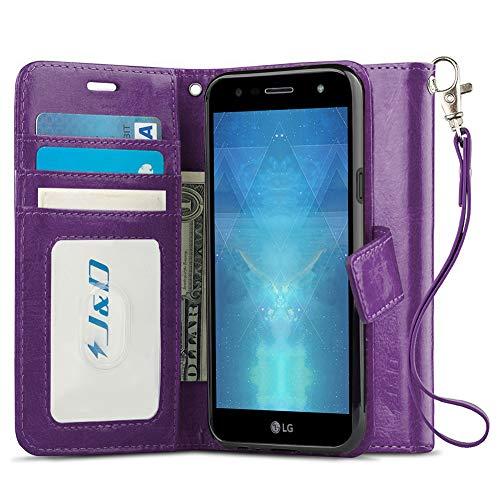 J & D Kompatibel für LG X Power 3 Hülle, [Handytasche mit Standfuß] [Slim Fit] Robust Stoßfest Aufklappbar Tasche Hülle für LG X Power 3 - [Nicht kompatibel mit LG X Power 2/LG X Power] - Violett