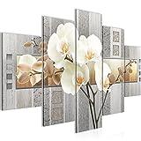 Bild 150 x 100 cm - Blumen Bilder- Vlies Leinwand - Deko für Wohnzimmer -Wandbild - XXL 5 Teilig Teile - leichtes Aufhängen- 800753a