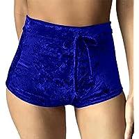 Eté Femme Shorts de Sport Réglable Bandage Plissée Velour Shorts Loisirs Couleur Unie Jogging Shorts