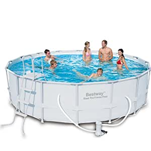 Bestway 56266 Frame Pool Power Steel Set mit Filterpumpe + Zubehör 488 x 122cm