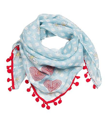 SIX Oktoberfest hellblau/weiß kariertes Tuch, Schal mit kleinen Edelweiß Blumen und roten Bommeln (705-310)