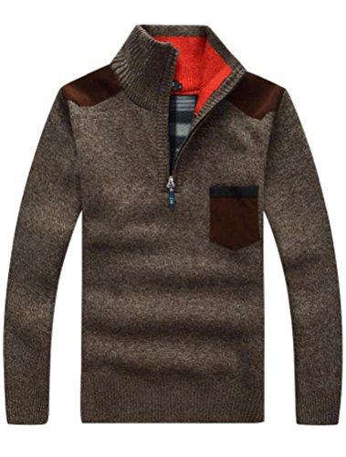 MatchLife da uomo nuovo di patchwork con zip Maglione Style2-Coffee