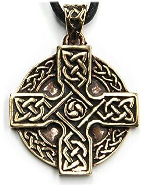 Keltenkreuz keltischer Schmuck Anhänger Bronze, Länge mit Öse: 4cm, inkl. Band