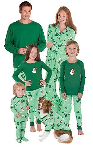 PajamaGram Let it Snow, Mann. Passende Familie Pyjama, Set, grün - grün - Damen Large (12-14) US