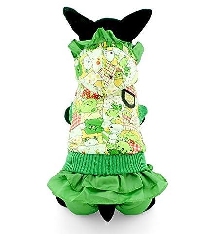 ranphy Kleine Haustier Kleidung für Hunde Katzen Winter Fleece Mantel mit Kapuze Jacke gefüttert wasserabweisend Bär Muster