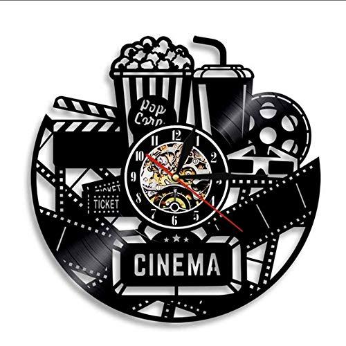 cket Vinyl Schallplatte Wanduhr Popcorn Design Led Hintergrundbeleuchtung Cool Dekorative Wanduhr Film Wanddekoration Raumdekoration ()
