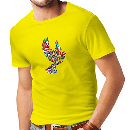 N4299 Männer T-Shirt Alle Nationen der Welt für den Frieden (X-Large Gelb Mehrfarben)