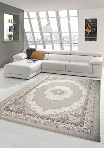 Designer Teppich Moderner Teppich Wollteppich mit Ornamente Wohnzimmer Teppich in Braun Beige Creme Größe 200 x 290 cm