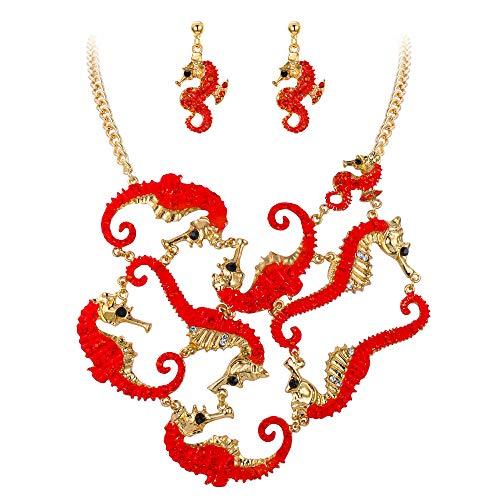 Ever Faith Damen Schmuckset Kristall Emaille Kostüm Statement Seahorse Chunky Halskette Ohrringe Set Rot Gold-Ton