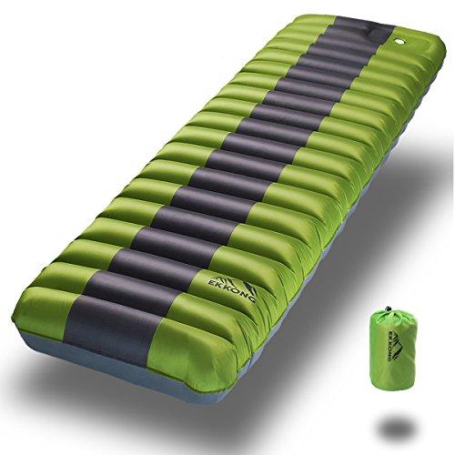 EKKONG Materasso da Campeggio Gonfiabile, Ultraleggero & Portatile Sleeping Pad per Trekking/Campeggio/Escursione, Impermeabile, Anti-umidità, 190 x 60 x 12cm (Verde)