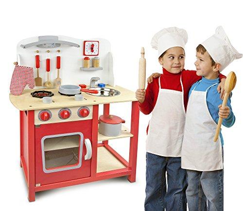 Leomark cucina classic rosso giocattolo in legno cucina for Cucina legno bambini amazon