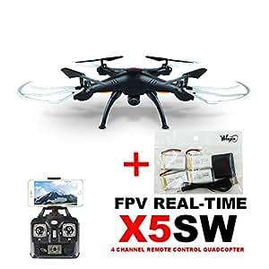WayIn® Syma X5SW Explorers FPV 2.4GHz Caméra 4 canaux WiFi FPV RC Quadcopter + cadeau gratuit: 4pcs batteries 600mAh et 4 en 1 chargeur (Noir)