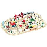 Leomark Holzeisenbahn für Kinder mit 130 Teilen Spielzeugeisenbahn Zug komplett Set Holz
