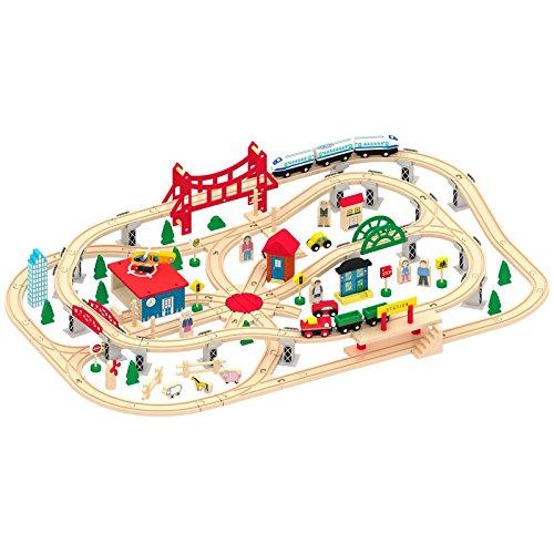 Jeu de Train En Bois 130 Piéces Circuit de Train Jeu de Construction Train En Bois  Rails  Accessoires Jouet à Tirer Educatif Pour Enfants