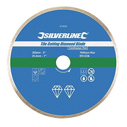 Silverline 918528 Diamant-Fliesentrennscheibe 200 x 25,4 mm, geschlossener Rand -