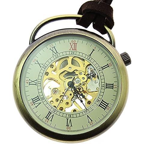 Itemstoday Open Face in pelle anticata, da piegare a mano, motivo: orologio da taschino da uomo - Pelle Open Face