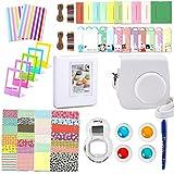 Fujifilm Instax Mini 8 Zubehör, Leebotree 10 in 1 Kamerapaket beinhaltet Kameratasche/Album/Selfielinse/Farbige Filter/Wandfotorahmen/Filmrahmen/Rahmenaufkleber/Eckaufkleber/Markierstift (Weiß)