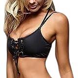 QingJiu Frauen Bandage Push-Up Bikini Tops Gepolsterter BH Badeanzug Bademode Beachwear(Schwarz,Small)