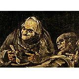 La demonología, magia, ocultismo y magia dos viejos para comer sopa, detalle, de las pinturas negras de Francisco de Goya tarjeta del arte brillante c1819-23 250gsm A3 cartel de la reproducción