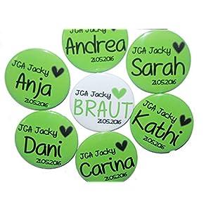 JGA-Button Set, groß, 50mm, Hochzeit-Junggesellenabschied, personalisiert, Menge und Text individuell auswählbar, Ansteckbutton, Motiv: Herz grün