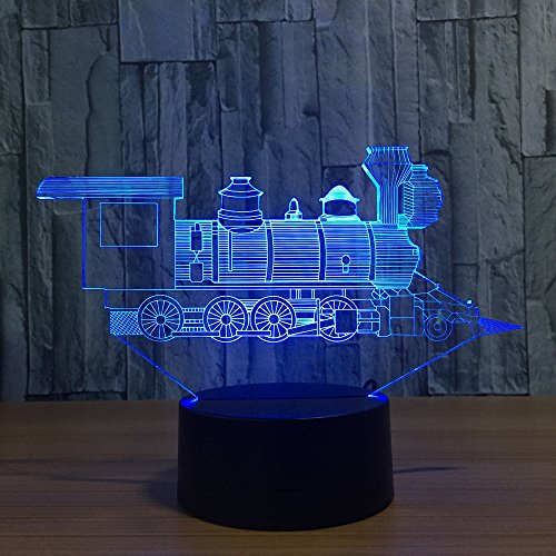 Benbroo Distant Management Lamp 3D Visible Led Evening Gentle 7 Colours Steam Coal Practice On Acrylic board USB Desk Evening Energy Provide Micro USB/three x AAA Battery …