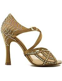 Manuel Reina - Zapatos de Baile Latino Mujer Salsa Black Widow Tan Edition - Bailar Bachata