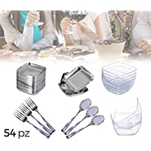 609607 FINGER FOOD Vajilla + Cubertería de plástico (Set de ...