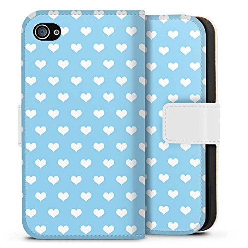 Apple iPhone X Silikon Hülle Case Schutzhülle Herzen Hellblau Muster Sideflip Tasche weiß
