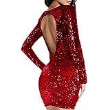 CLOOM Abendkleider Elegant Pailletten Rückenfrei Sexy Kleider Damen Wickelkleid Minikleid Partykleider Knielang Damen Maxikleid Cocktailkleid Festliche Kleid Ballkleider Clubwear (S, Rot)
