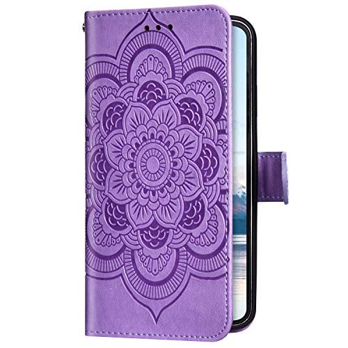 Uposao Kompatibel mit iPhone 11 Handyhülle Mandala Blumen Muster Handy Schutzhülle Ledertasche Flip Case Handytasche Wallet Hülle Bookstyle Klappbar Lederhülle Magnetisch,Lila
